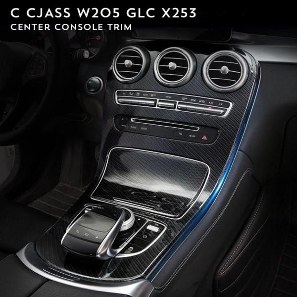 Mittelkonsole Armaturenbrett Schalttafel ohne Uhr Passend Für Mercedes Benz C Klasse W205 GLC Carbon Optik