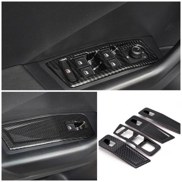 Fensterheber Rahmen Blende Abdeckung in ABS Carbon Optik Passend Für VW T-Roc TDI TSI