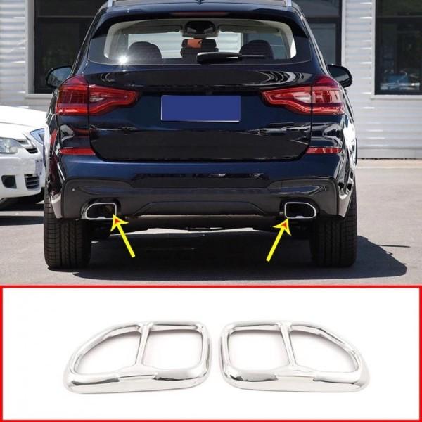 Edelstahl Auspuff Blende Abdeckung Rahmen Passend Für BMW X3 G02 X4 G02