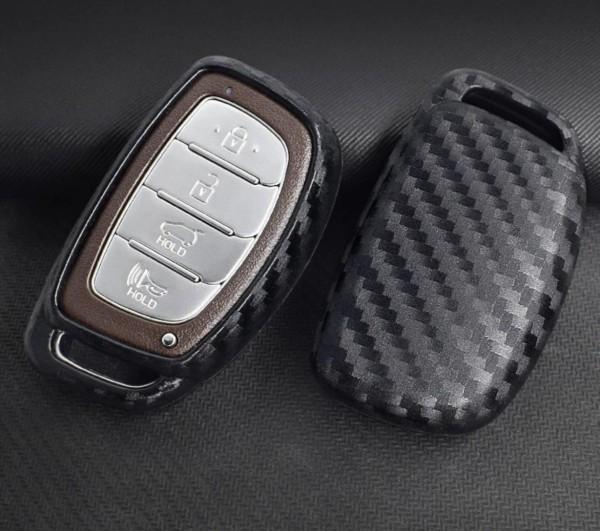 Schlüssel Gummi Cover Schlüsselhülle Carbon Optik Passend für Hyundai Verna Sonata Elantra Tucson