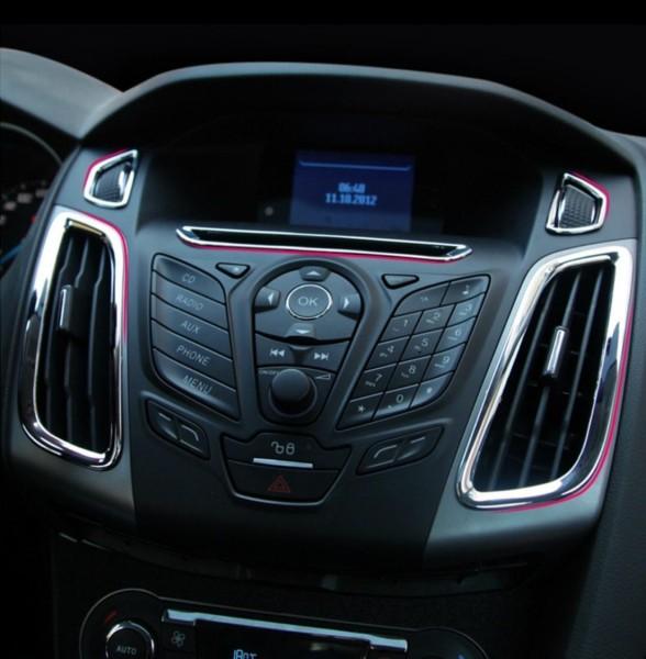 Lüftungsabdeckung Rahmen Mittelkonsole Passend Für Ford Focus MK3 ABS Kunststoff Verchromt