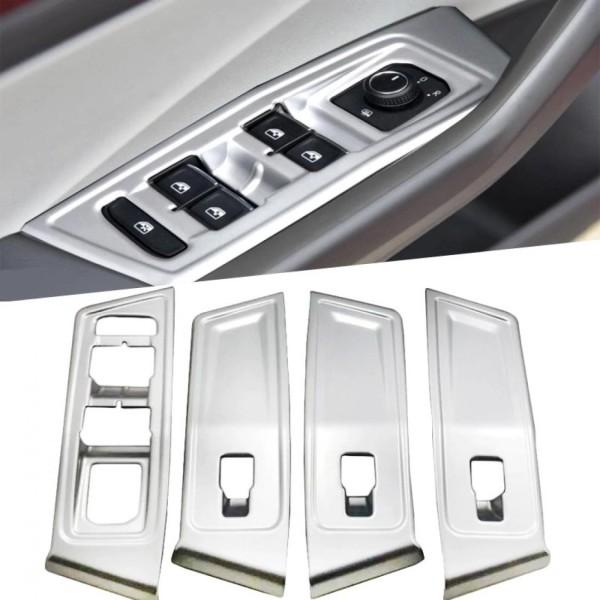 Fensterheber Rahmen Blende Abdeckung ABS Silber Matt Passend Für VW T-Roc TDI TSI Rline