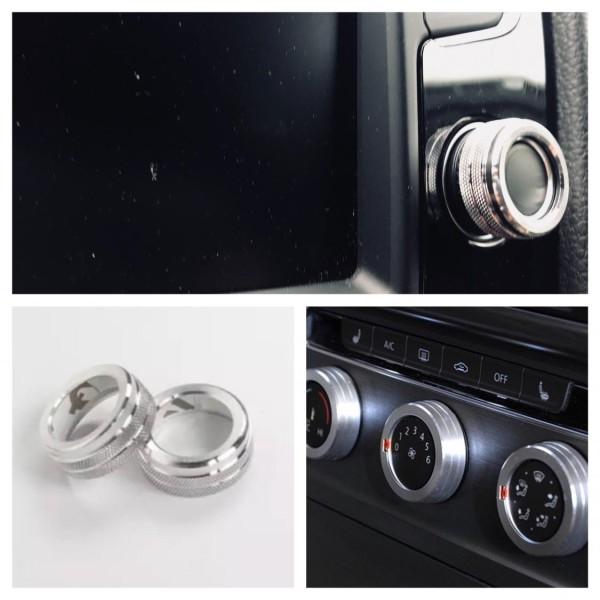 Radio Klima Heizungsregler Schalter Aluringe Passend Für VW Tiguan 2 Passat B8