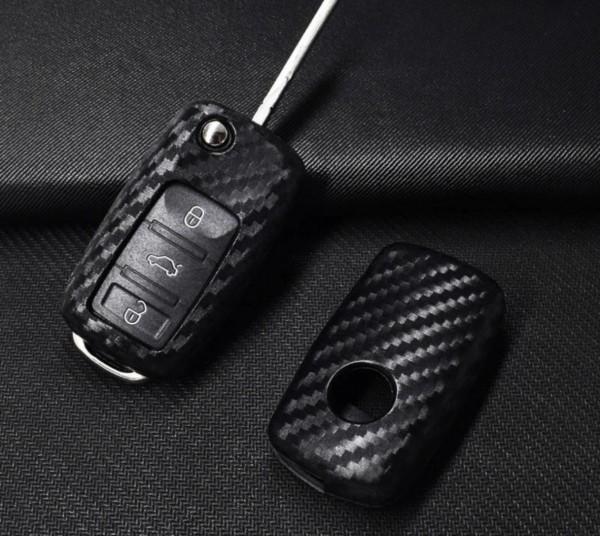 Schlüssel Gummi Schlüsselhülle in Carbon Optik Passend Für VW Polo Golf Jetta Bora Touran Tiguan Tuareg Passat Skoda Octavia Seat Ibiza Leon