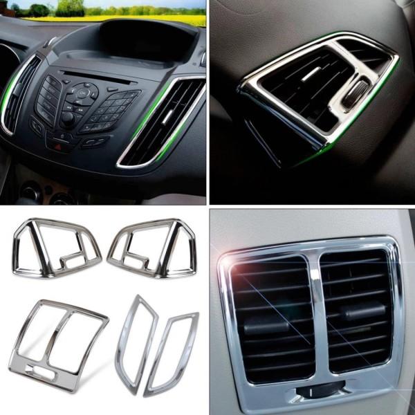 Luftdüsen Lüftung Rahmen Armaturenbrett Blende Passend Für Ford Kuga Chrom Optik