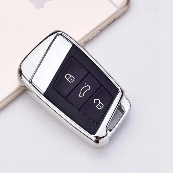 Smart Schlüssel Gummi Schlüsselhülle in Silber Passend Für VW Golf 7 T-Roc Tiguan 2 Passat B8 Aerton