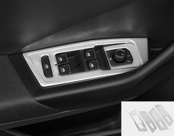 Edelstahl Fensterheber Rahmen Blende Abdeckung in Silber Matt Passend Für VW T-Cross TDI TSI