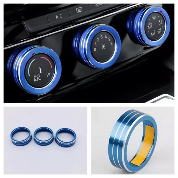 Klima Heizung Zierringe Rahmen Blau Passend Für Skoda Kodiaq VW Tiguan 2 AD1 Passat Touran T Roc T Cross