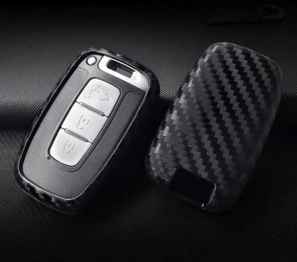 Schlüssel Gummi Cover Schlüsselhülle Carbon Optik Passend für Hyundai Santa Fe Sorento Sorata Equus