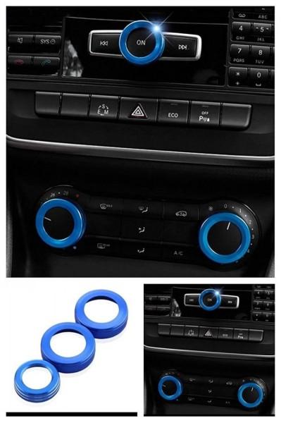 Klima Lüftungsringe Radio Drehknopf Blau Passend Für Mercedes Benz
