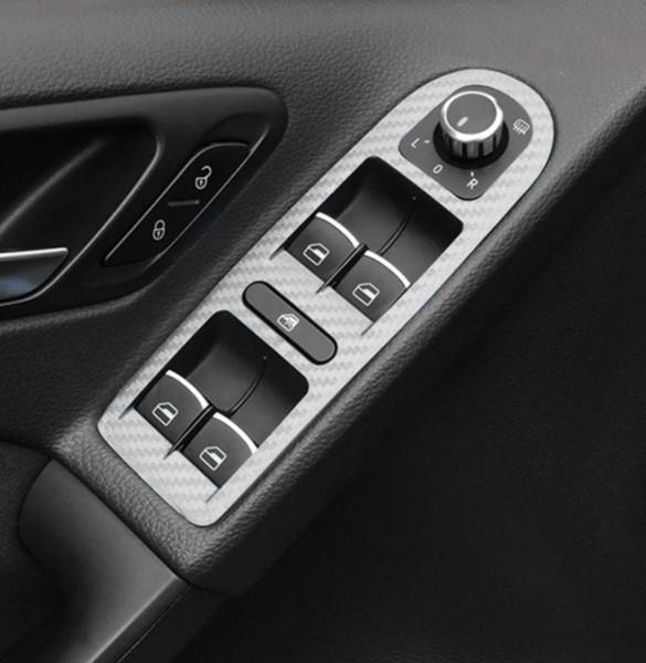 Fensterheber Handgriffe in 3D Carbon Folie Passend Für VW Golf 6 Silber
