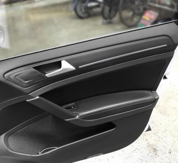 3D Carbon Folie Schwarz Handgriffen und Seiten Passend Für Golf 7 Mk7 GTI GTD R TSI