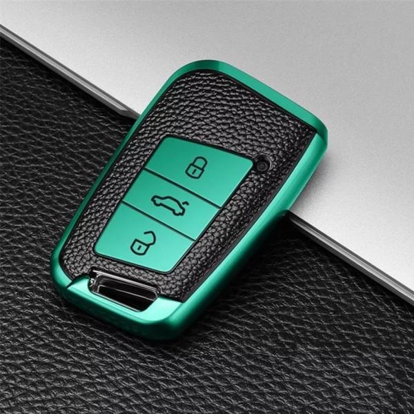 Smart Schlüssel Gummi Schlüsselhülle in Grün Passend Für VW Golf 7 T-Roc Tiguan 2 Passat B8 Aerton