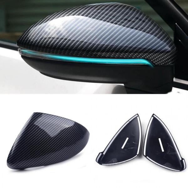 Carbon Optik Spiegelkappen zum Kleben Blende Rahmen Passend Für VW Golf 7