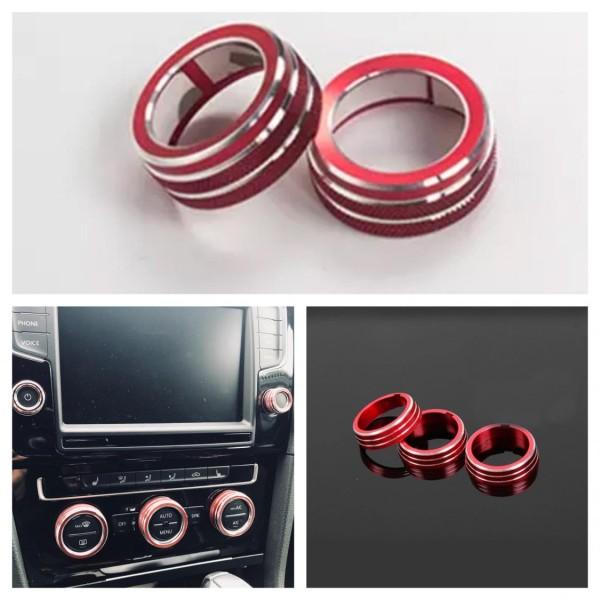 Radio Klima Heizungsregler Schalter Aluringe Passend Für VW Tiguan 2 Passat B8 T-Roc Aerton Touran Caddy Polo