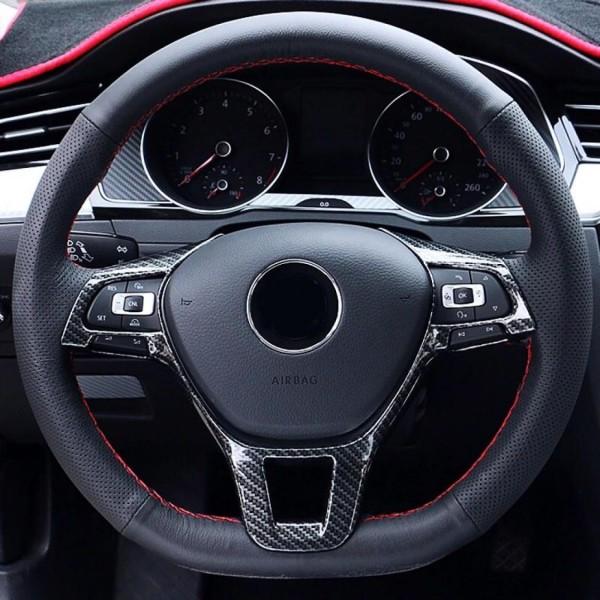 Lenkrad Rahmen Abdeckung Blende Carbon Passend Für VW Tiguan 2 AD1 Golf 7 T-Roc T-Cross Passat B8