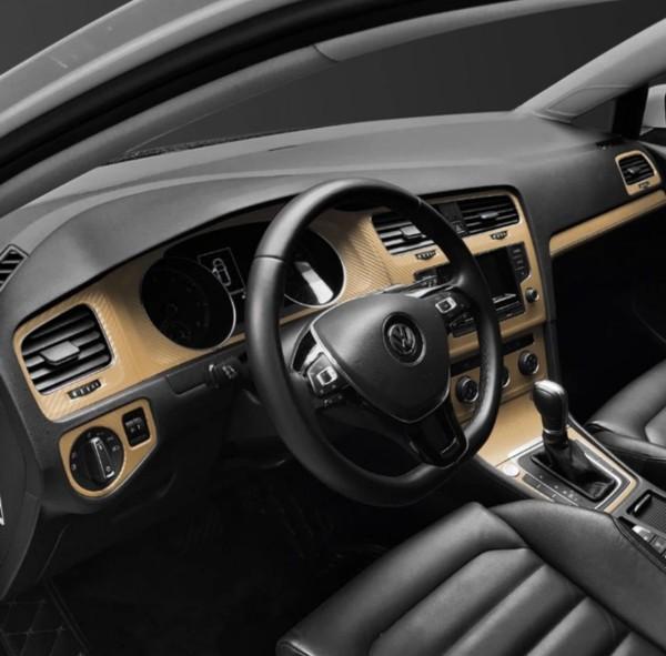 Mittelkonsole Armaturenbrett  3D Carbon Folie Passend Für VW Golf 7 mit Start Stop Gold
