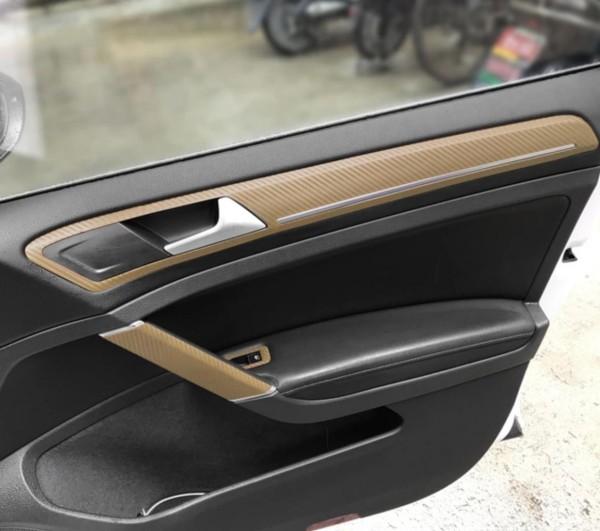 3D Carbon Folie Gold Handgriffe und Seiten Passend Für Golf 7 Mk7 GTI GTD R TSI