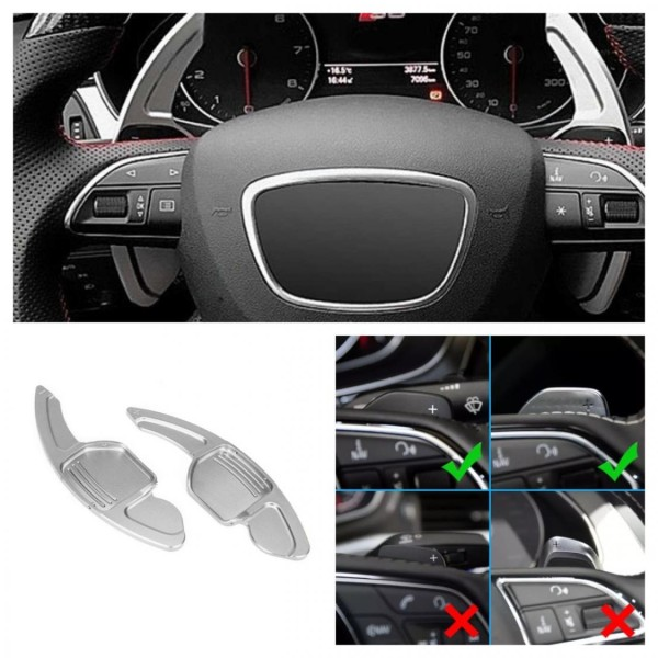 Schaltwippen Verlängerung Paddel Silber Passend Für Audi alle Modelle Seat Leon 5F Cupra FR
