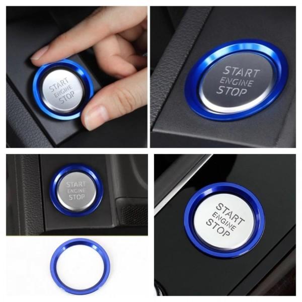 Start Stop Ring Abdeckung Alu Blau Passend Für VW Polo Golf 7 Tiguan 2 Passat B8 Arteon T-Roc T-Cross