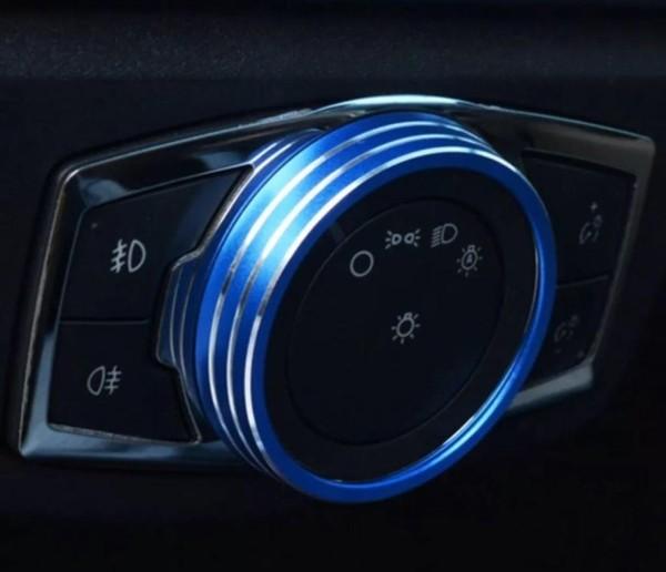 Lichtschalter Alu Ring Passend Für Ford Focus Mondeo 3 Ecosport Edge Blau
