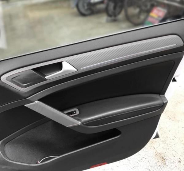 3D Carbon Folie Silber Handgriffe und Seiten Passend Für Golf 7 Mk7 GTI GTD R TSI TDI