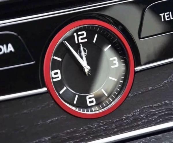 Mittelkonsole Uhr Ring Blende Passend Für Mercedes Benz C Klasse W205 AMG Rot