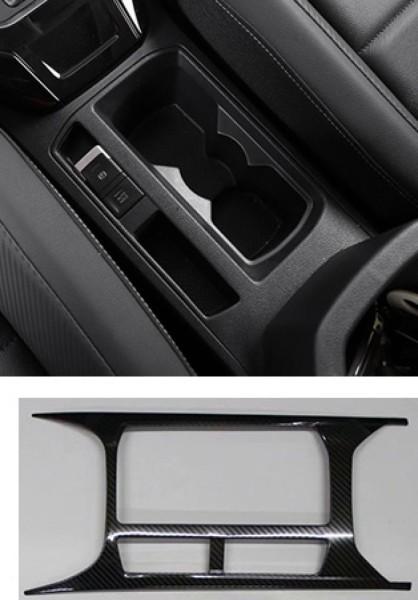 Mittelkonsole Becherhalter Blende Abdekung Rahmen Edelstahl Carbon Optik Passend Für VW T-Roc TDI TSI