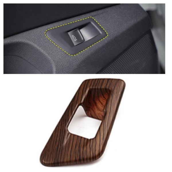 Kofferraum Heckklappe Druckknopf Rahmen Blende Holz Optik Passend Für VW T-Roc TDI TSI
