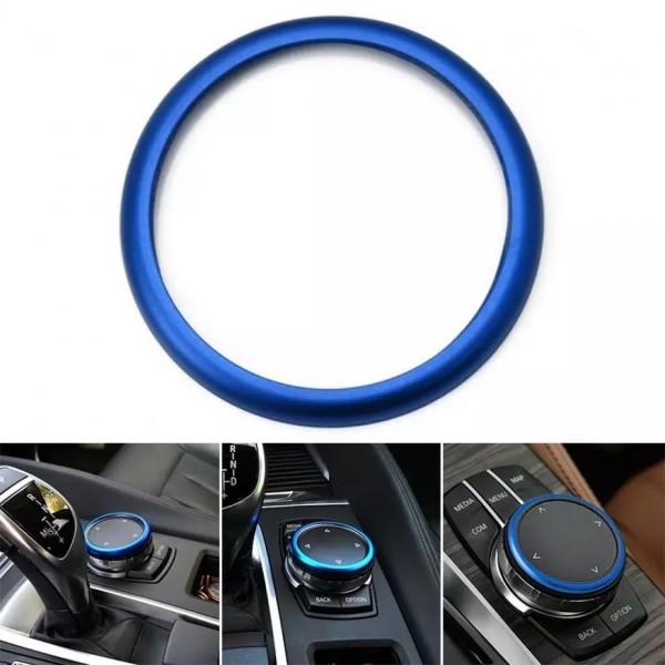 Mittelkonsole Multimedia Steuerung Ring Rahmen Passend Für BMW 1er - 7er Blau