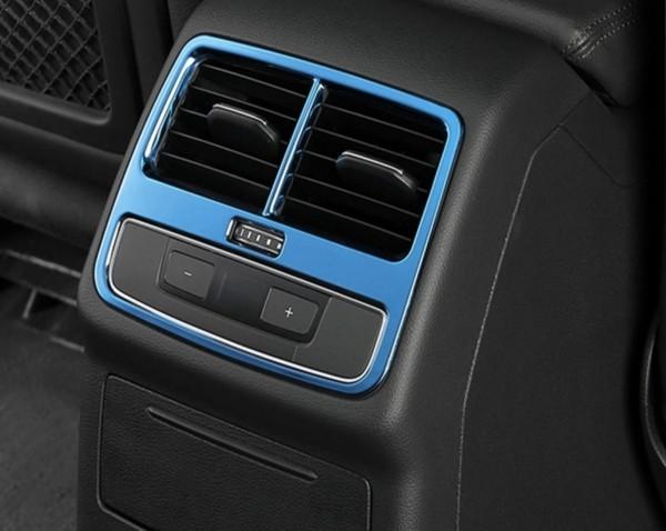 Mittelkonsole Hinden Lüftungsabdeckung Blende Passend Für Audi A4 S4 RS4 B9 in Edelstahl Blau