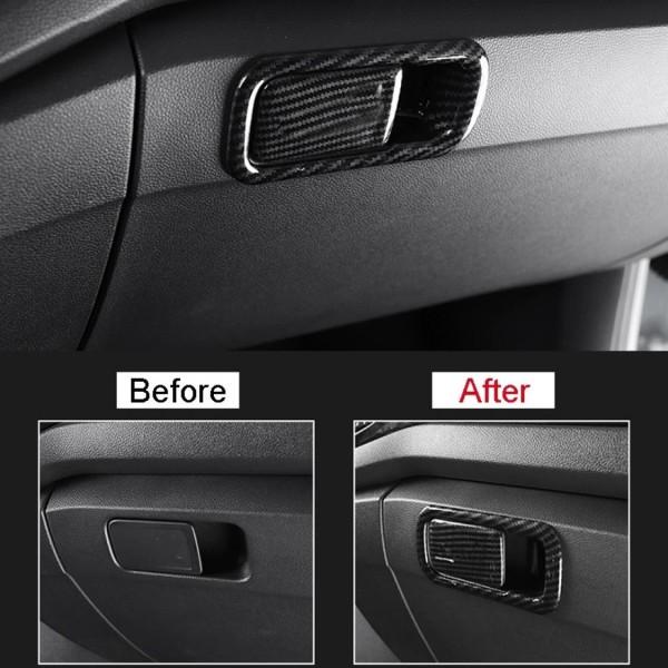 Handschufach Schloss Rahmen Blende Abdeckung Edelstahl Carbon Optik Passend Für VW T-Roc TDI TSI