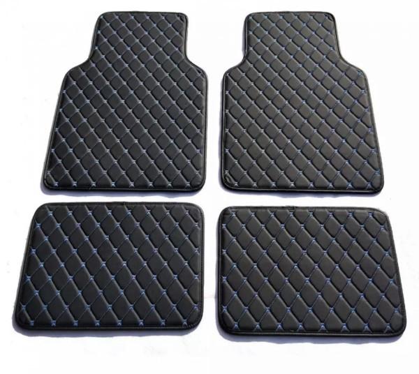 CARSTYLER® Exklusive Auto Fußmatten Universal Leder Schwarz Faden Blau
