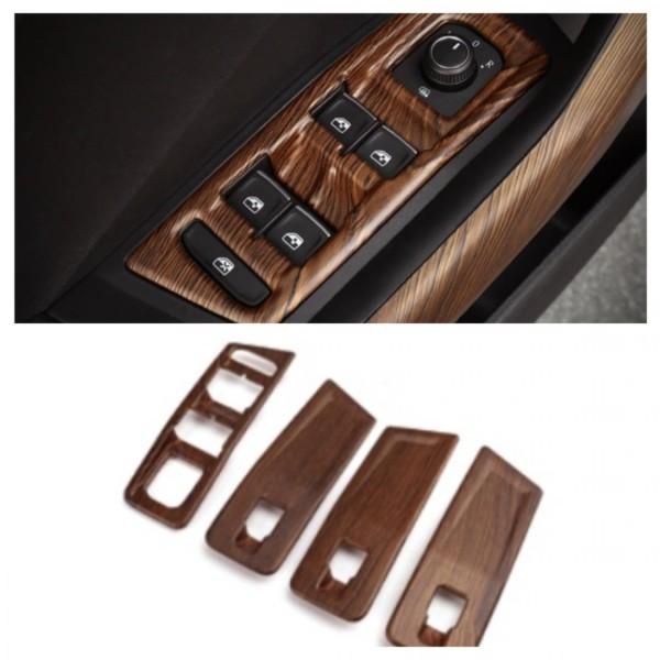 Fensterheber Rahmen Blende Abdeckung in Holz Optik Passend Für VW T-Roc TDI TSI