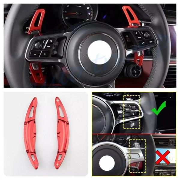 Schaltwippen Verlängerung Shift Paddels in Rot Passend Für Porsche Macan Panamera Cayenne Caymann Carrera Boxster Spyder