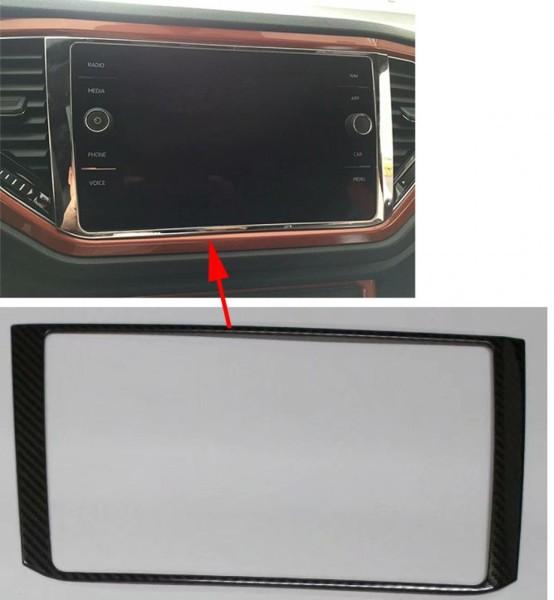 Radio Navi Rahmen Blende Abdeckung Edelstahl Carbon Optik Passend Für VW T-Roc TDI TSI Rline