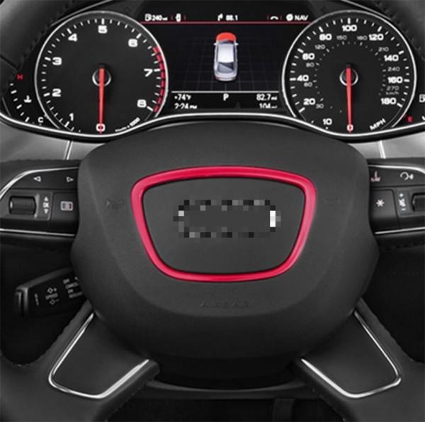 Lenkradabdeckung Blende Rahmen Alu Chrom Passend Für Audi A4 A5 A6 A7 A8 Q2 Q3 Q5 Q7 TT R8 Rot