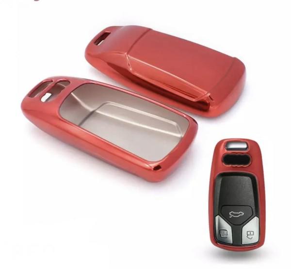 Schlüssel Gummi Cover Schlüsselhülle in Rot Passend für Audi A4 A5 A6 A7 Q5 Q7 S4 S5 S6 S7 SQ5 SQ7