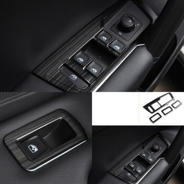 Fensterheber Rahmen Blende Abdeckung Schwarz Liniert Passend Für VW Tiguan 2 AD1