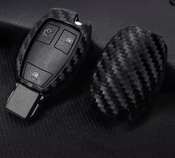 Schlüssel Gummi Cover Schlüsselhülle Carbon Optik Passend für Mercedes Benz A B C E CLA GLA CLS GLK ML GLE Vito