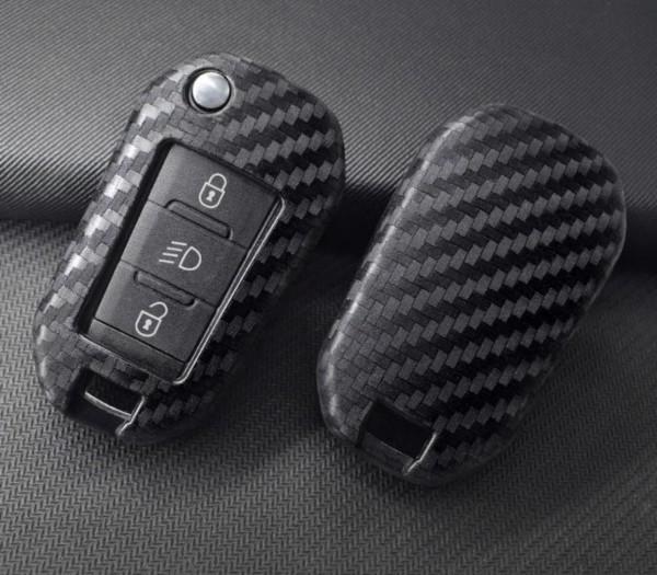Schlüssel Gummi Cover Schlüsselhülle Carbon Optik Passend Für Peugeot 3008 208 307 308 408 508 2008 4008 Citroen C4