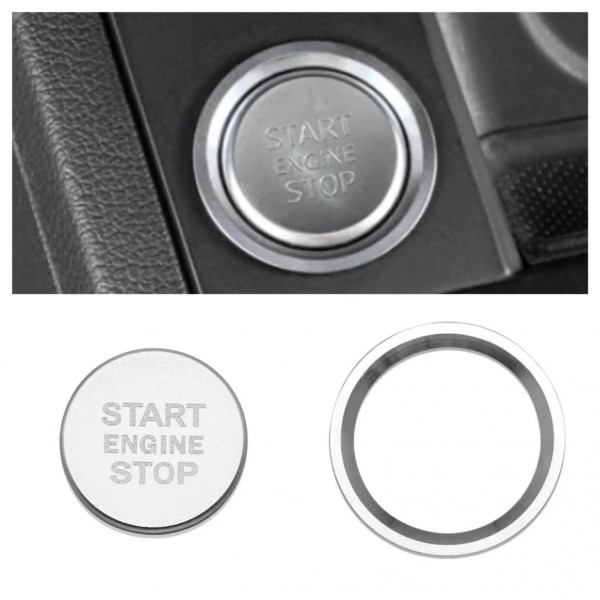 Start Stop Ring mit Druckknopf in Silber Passend für Audi A4 S4 RS4 B9 A5 S5 RS5 F53 Q5 SQ5 FY A6 S6 RS6 C7 A7 S7 RS7 C8