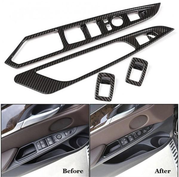 Abdeckung Rahmen Blende Carbon Optik Fensterheber Passend Für BMW X5 X6 F15 F16