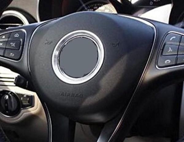 Lenkrad Emblem Aluring Durchmesser 58 mm Passend Für Mercedes Benz A Klasse B Klasse CLA GLA in Silber