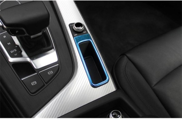 Mittelkonsole Blende Rahmen Passend Für Audi A4 S4 RS4 B9 in Edelstahl Blau