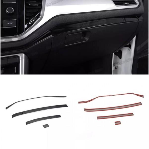 Armaturenbrett Leisten Rahmen Blende Abdeckung Edelstahl Schwarz Liniert Passend Für VW T-Roc TDI TSI