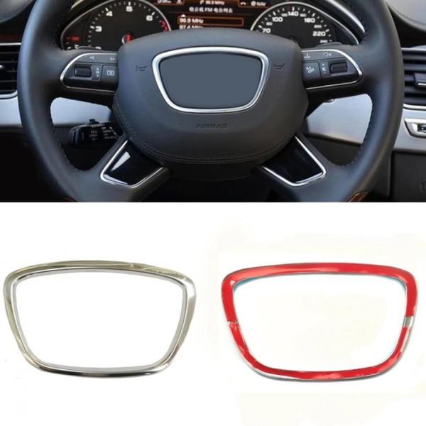 Lenkradabdeckung Blende Rahmen Alu Chrom Passend Für Audi A4 A5 A6 A7 A8 Q2 Q3 Q5 Q7 TT R8 Silber