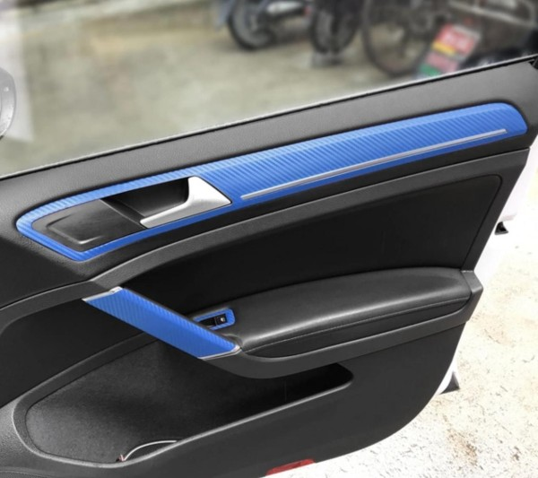 3D Carbon Folie Blau Handgriffe und Seiten Passend Für Golf 7 Mk7 GTI GTD R TSI