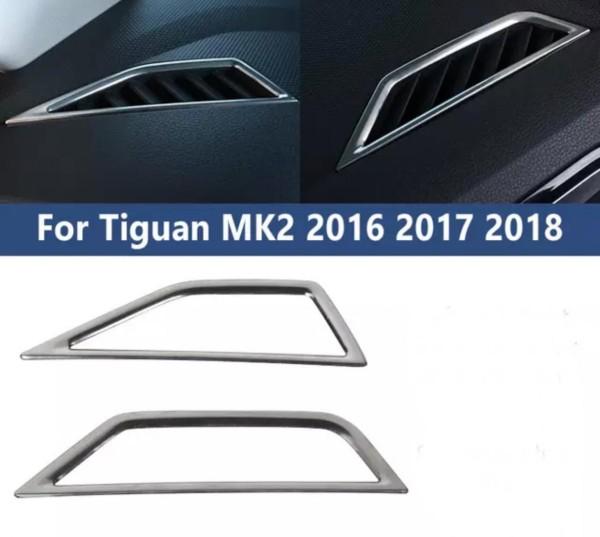 Luftdüsen Lüftung Rahmen Blende Abdeckung in Edelstahl Passend Für VW Tiguan 2 AD1
