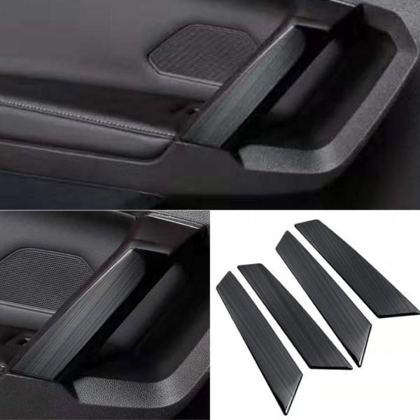 Handgriff Blende Abdeckung Rahmen Edelstahl Schwarz Liniert Passend Für VW Tiguan 2 AD1